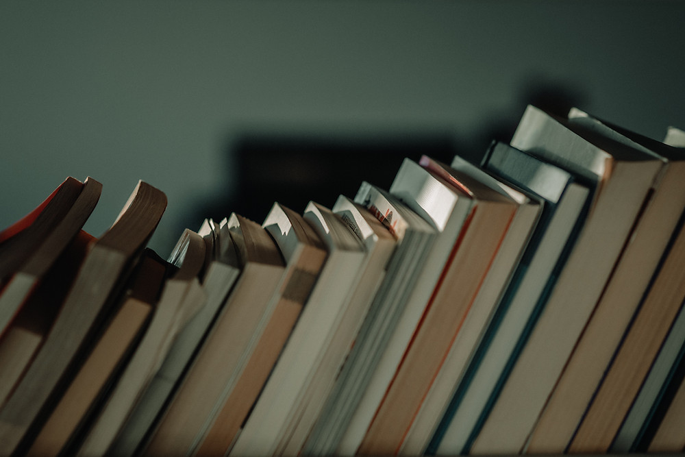 A series of books with the spines pointing towards the wall