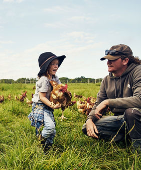 Father and Son in Chicken Farm