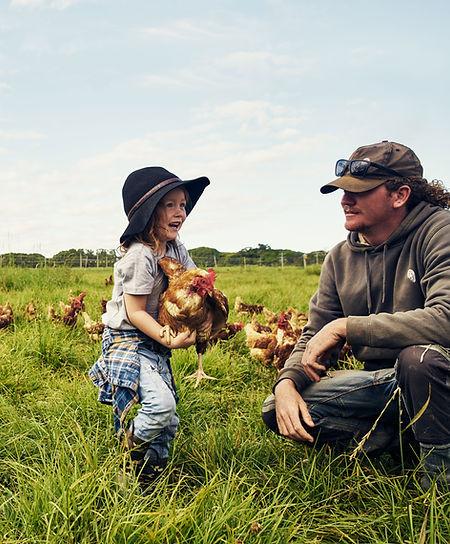 Padre e figlio in allevamento di polli