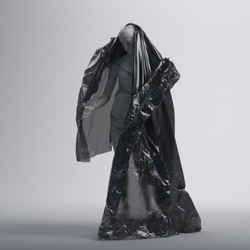 Statue with Black Plastic