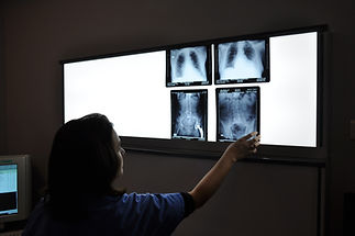 English speaking radiologist reads x-rays