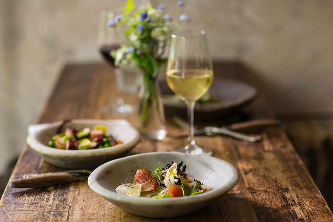 Salade et vin