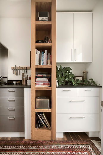white and grey custom cabinets for kitchen