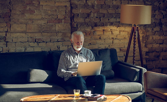 Senior Man Working from Home