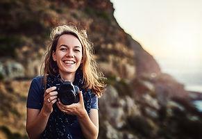 Glückliche Fotografin