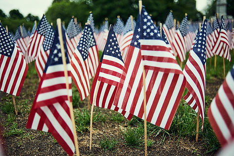 American Flags represent veterans and their caregivers who need support both emotional and physical