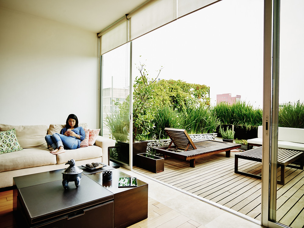 An apartment house never limits your fresh air to come in.