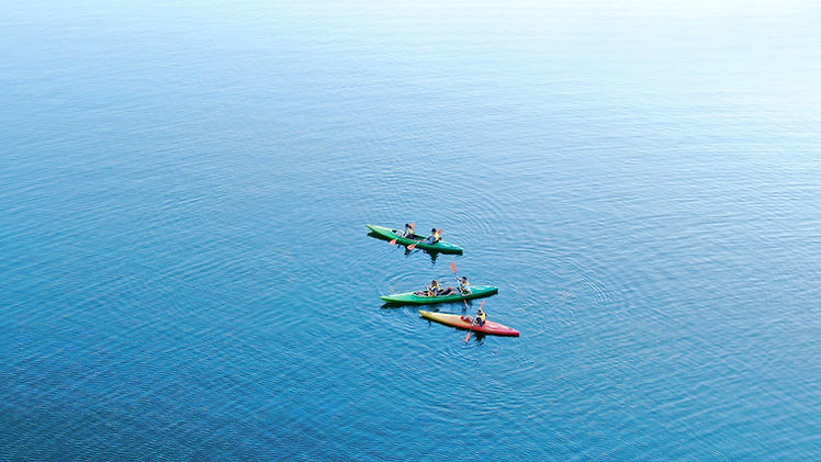 Aerial View of Kayaks