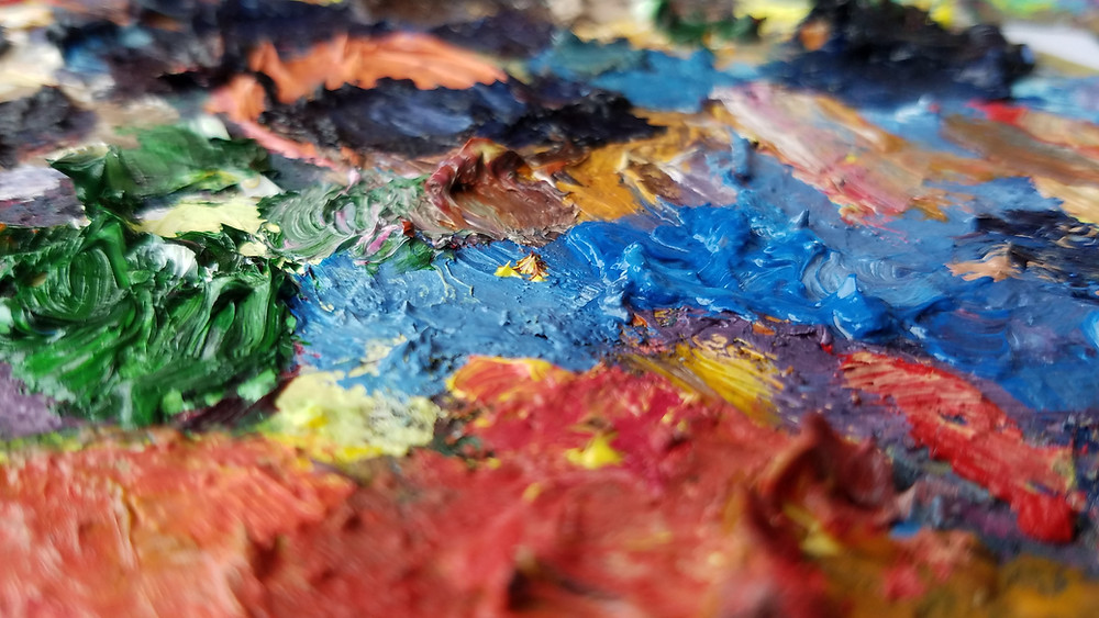 pallete of rainbow colours