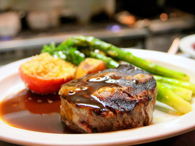 Steak, Demi-Glace, Asparagus with Gremolada