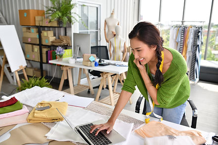 Women owner creating a website with HWD