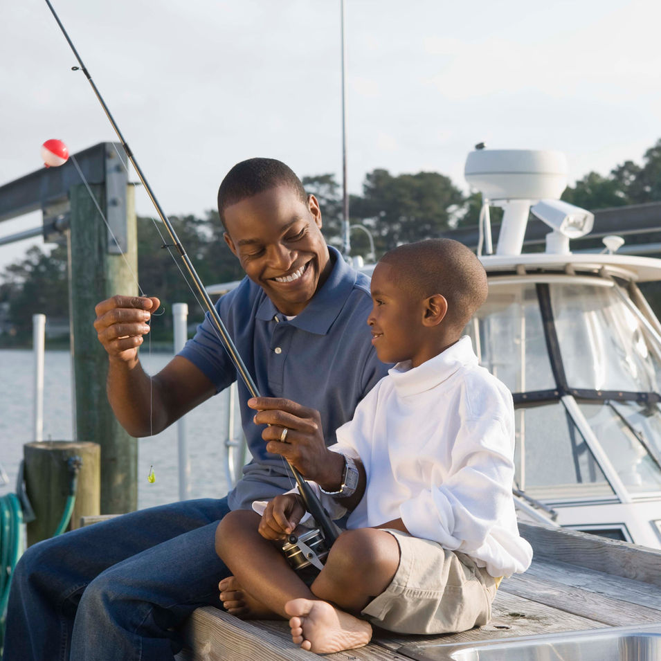 Father and Son Fishing with Aquarius Boat Rental