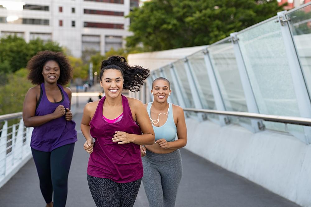 Women running, postpartum moms