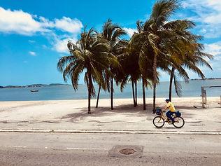 騎自行車在海邊