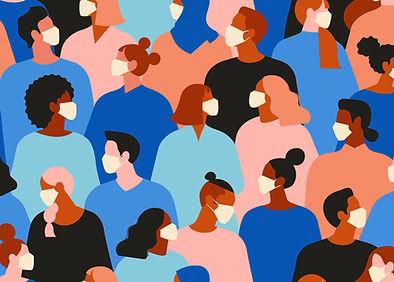 Multidão com máscaras
