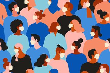Menschenmenge mit Masken