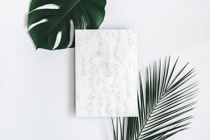 Folhas tropicais e papel de mármore