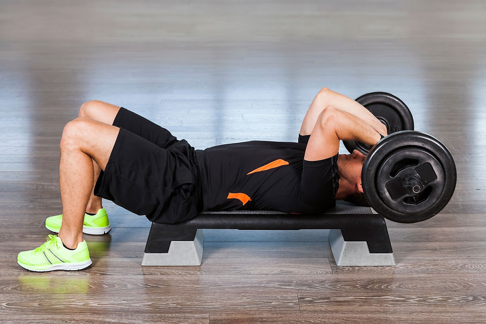 A man weight training.