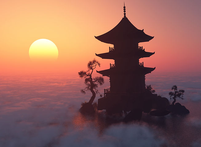 Asian temple against setting sun