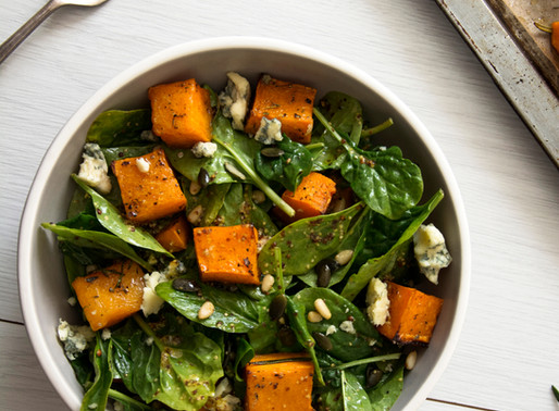 Pumpkin, fetta and pine nut salad