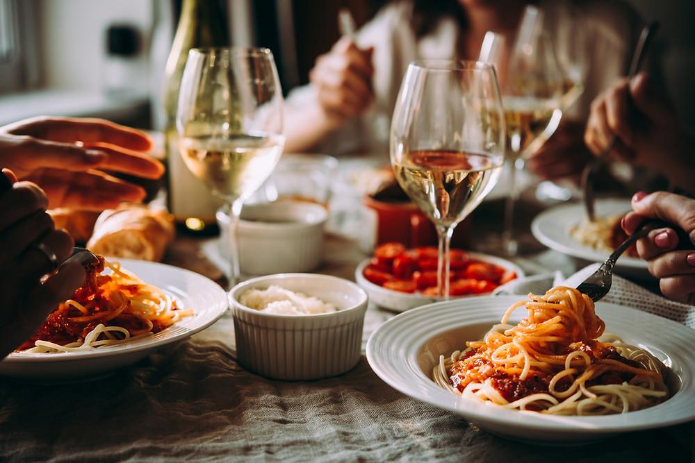 Wine and pasta dinner.