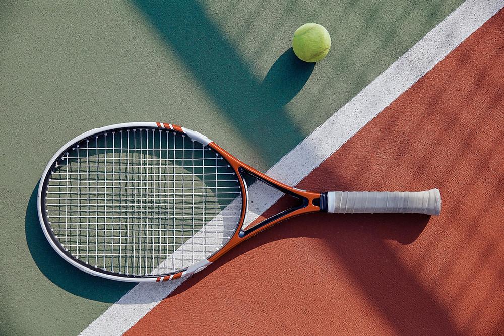 Tennis racquet, tennis ball, tennis court