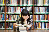 Reading Books in Library