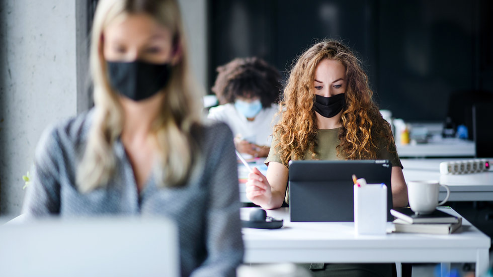 Wearing Masks in Clean, Safe Office