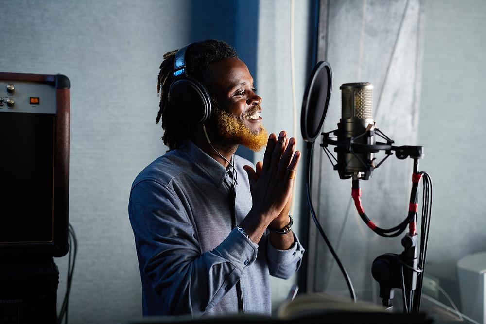 Man recording in a studio