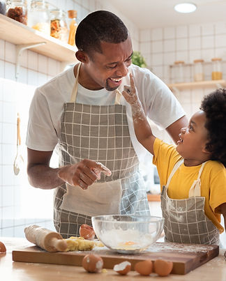 Man cooking with his son