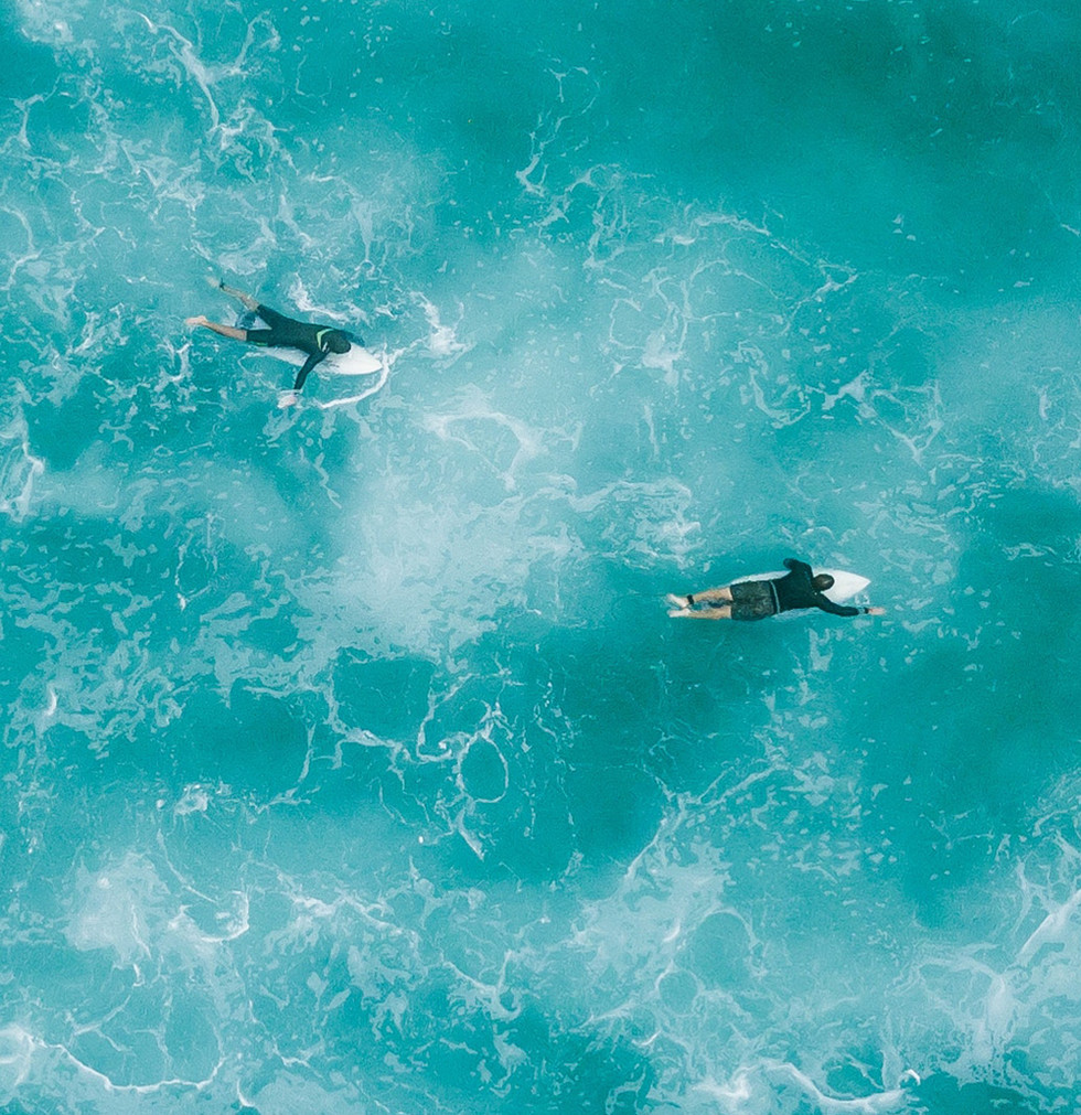 Aerial View of Surfers