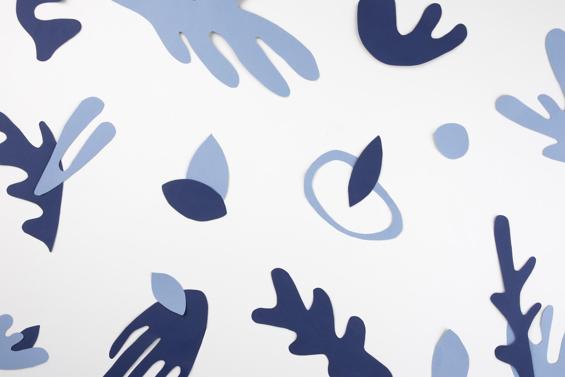Blue Paper Cutouts