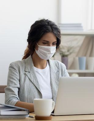 Mujer de negocios, con, máscara