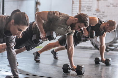 Man training in a gym in Cardiff