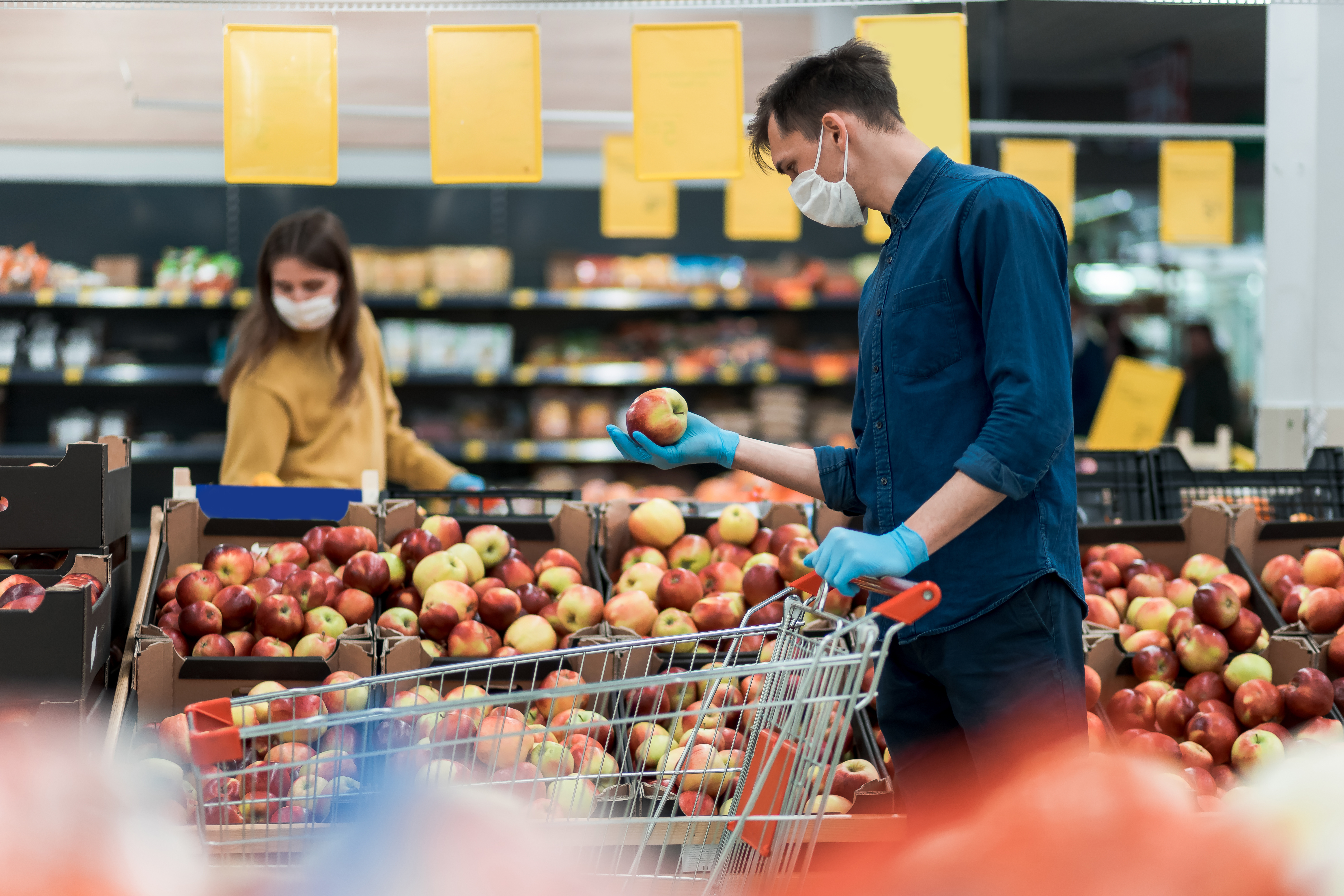Shopping with Protective Mask