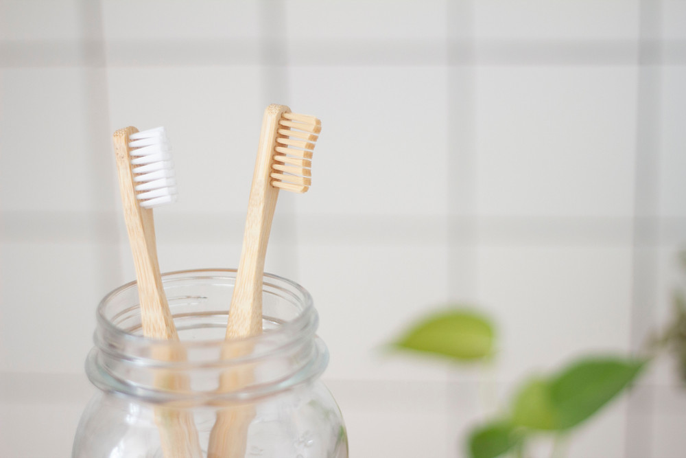 Lower waste bamboo toothbrushes with compostable handles
