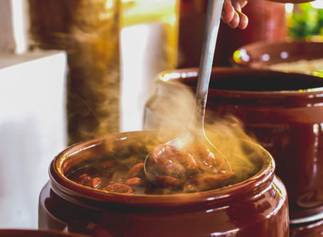 Hearty beef and bone marrow soup