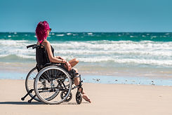 Woman in Wheelchair at Beach