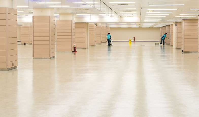 Commercial building floor being cleaned