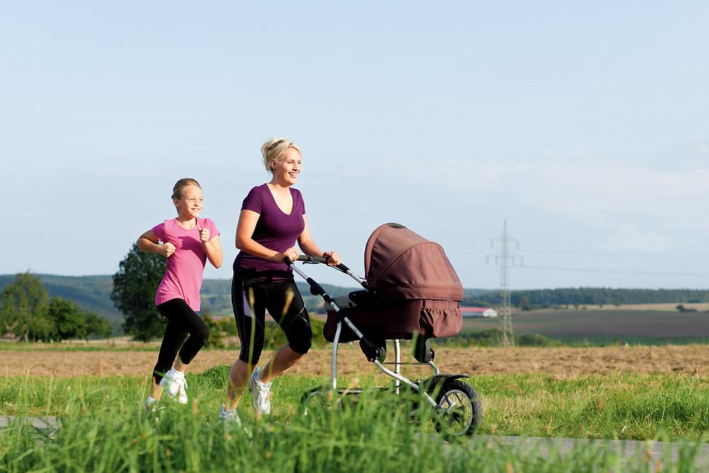 Family Jog, pushing a strawler and running