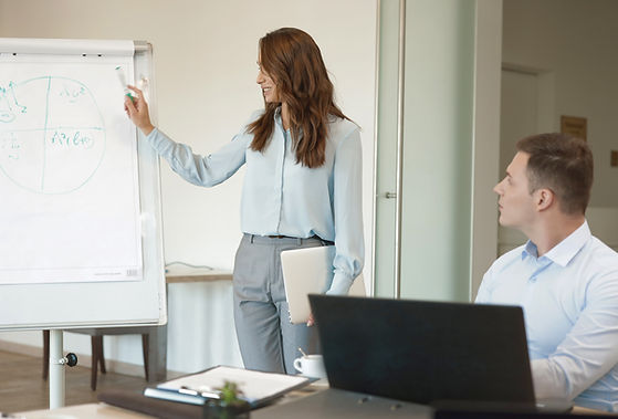 woman giving marketing presentation to co-worker