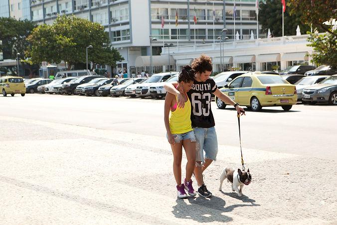 Couple Walking the Dog
