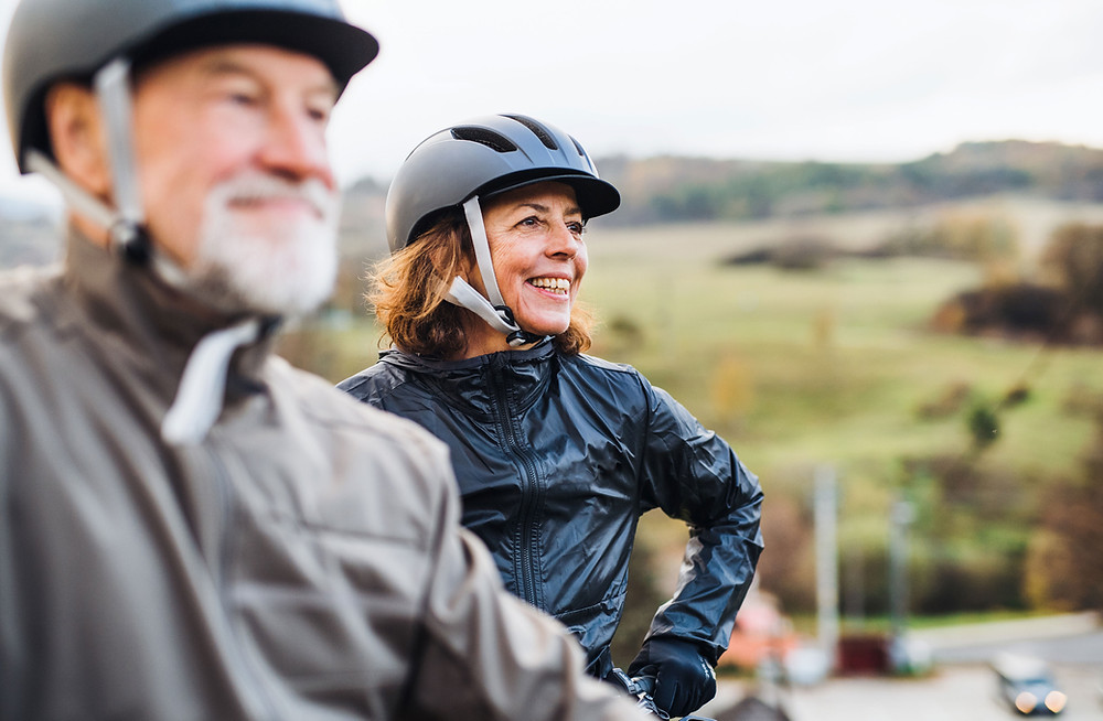 Man and women on there bicycle, fitness after 50