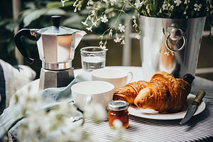 French croissants and black coffee for breakfast in Provence