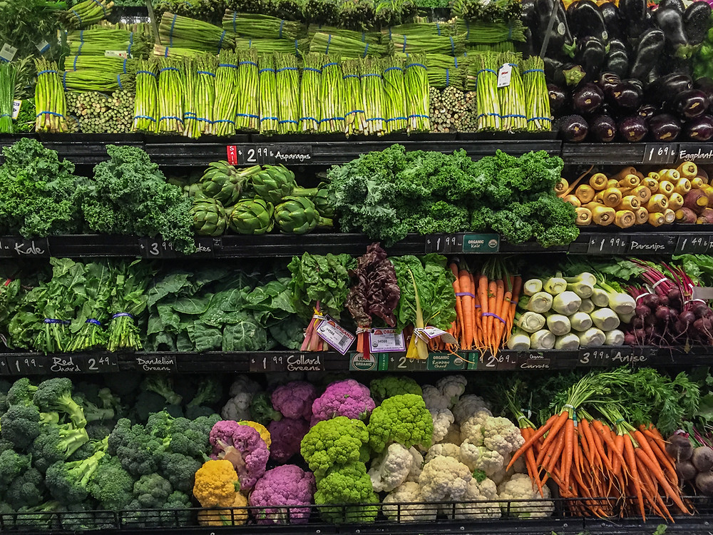 colorful vegetables in a supermarket display