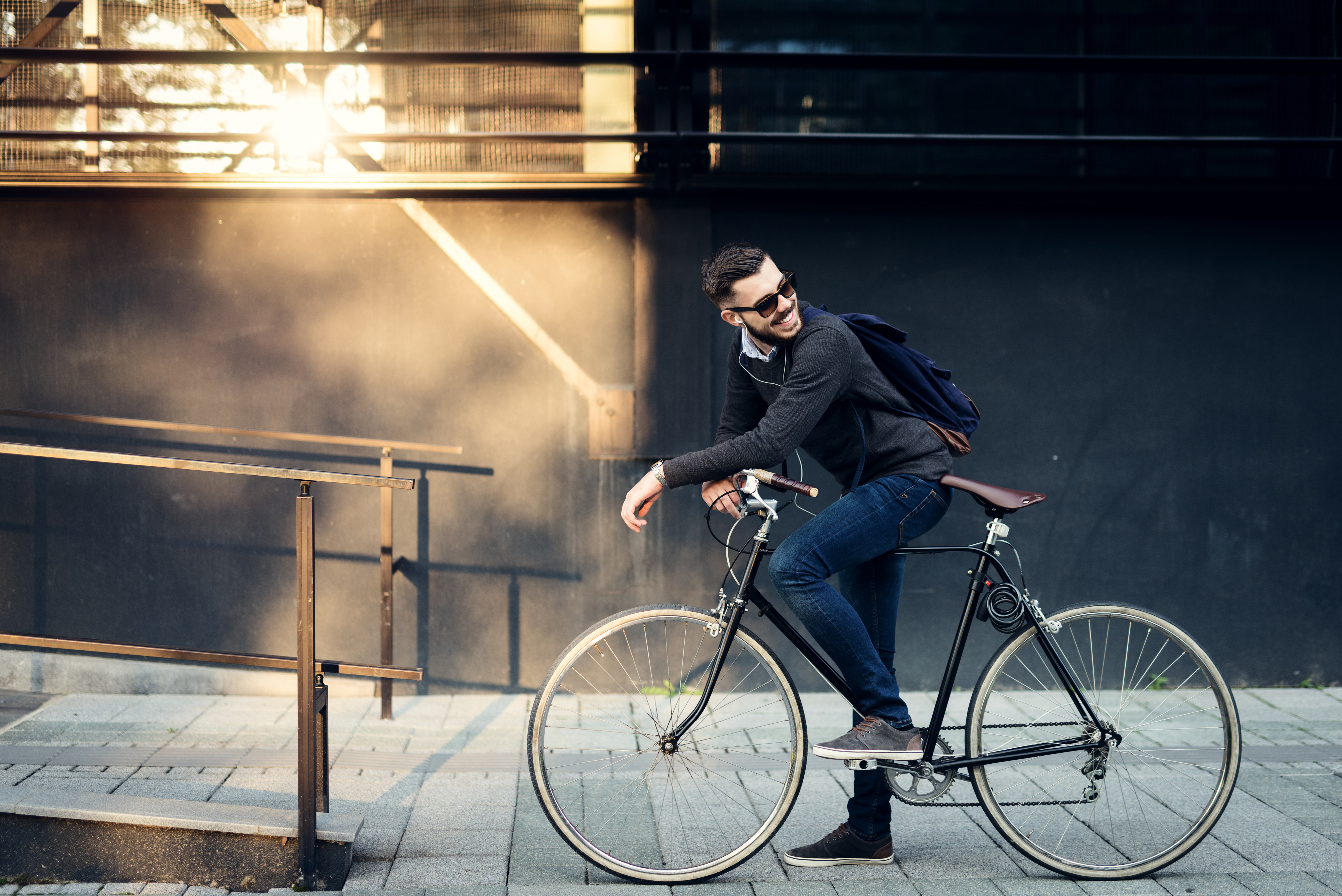 Male Bicycle Model on a Road Bicycle