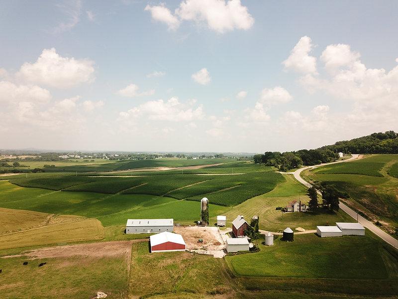 Vue aérienne de la ferme