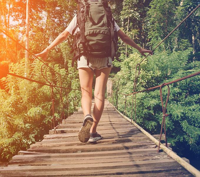Pont de bois à pied