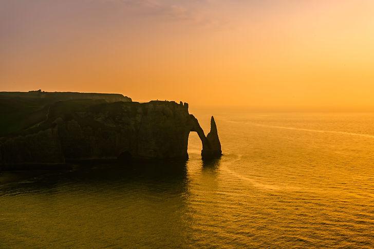 Coucher de soleil sur plage de Normandie