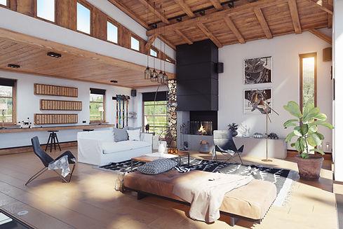 Interior moderno do chalé